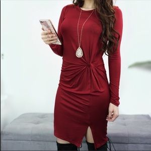 Flattering Deep Red Dress